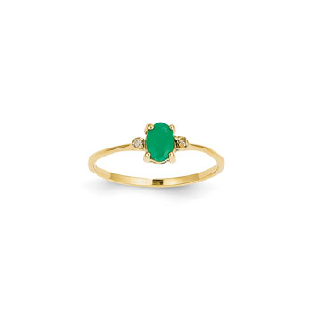 Girls Diamond Birthstone Ring - Genuine Emerald Birthstone with Diamond Accents - 14K Yellow Gold - Size 6