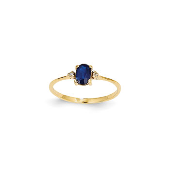 Girls Diamond Birthstone Ring - Genuine Blue Sapphire Birthstone with Diamond Accents - 14K Yellow Gold - Size 6