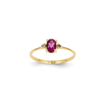 Girls Diamond Birthstone Ring - Genuine Pink Tourmaline Birthstone with Diamond Accents - 14K Yellow Gold - Size 6