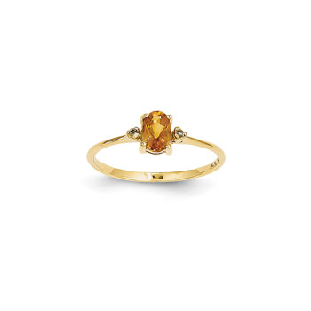 Girls Diamond Birthstone Ring - Genuine Citrine Birthstone with Diamond Accents - 14K Yellow Gold - Size 6