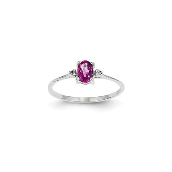 Girls Diamond Birthstone Ring - Genuine Pink Tourmaline Birthstone with Diamond Accents - 14K White Gold - Size 4