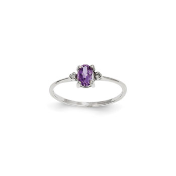 Girls Diamond Birthstone Ring - Genuine Amethyst Birthstone with Diamond Accents - 14K White Gold - Size 5