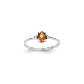Girls Diamond Birthstone Ring - Genuine Citrine Birthstone with Diamond Accents - 14K White Gold - Size 5