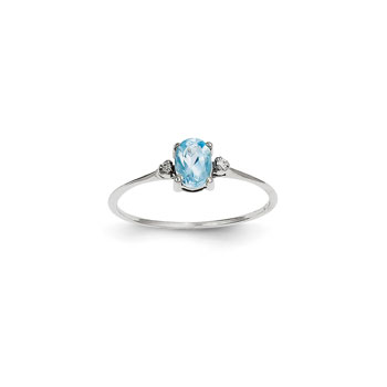 Girls Diamond Birthstone Ring - Genuine Blue Topaz Birthstone with Diamond Accents - 14K White Gold - Size 5