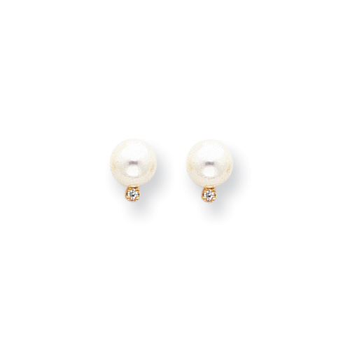 Cherished Pearls & Diamonds for Her - Freshwater Cultured Pearl Diamond 14K Yellow Gold Earrings (6.0mm - 6.5mm pearl) - Push-back posts