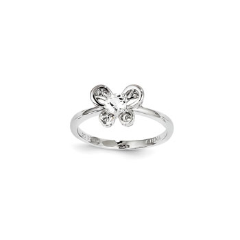 Girls Birthstone Butterfly Ring - Genuine White Topaz Birthstone - Sterling Silver Rhodium - Size 5