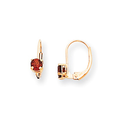 January Birthstone - Genuine Garnet 4mm Gemstone - 14K Yellow Gold Leverback Earrings/