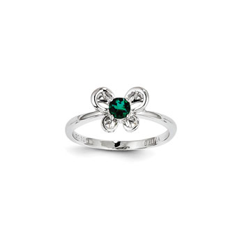 Girls Birthstone Butterfly Ring - Created Emerald Birthstone - Sterling Silver Rhodium - Size 5