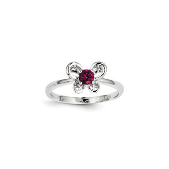 Girls Birthstone Butterfly Ring - Created Ruby Birthstone - Sterling Silver Rhodium - Size 5