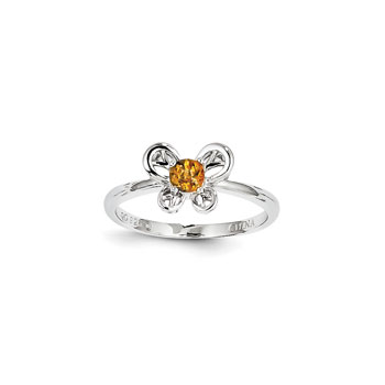 Girls Birthstone Butterfly Ring - Genuine Citrine Birthstone - Sterling Silver Rhodium - Size 5