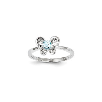 Girls Birthstone Butterfly Ring - Genuine Aquamarine Birthstone - Sterling Silver Rhodium - Size 6