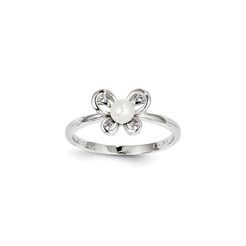 Girls Birthstone Butterfly Ring - Freshwater Cultured Pearl Birthstone - Sterling Silver Rhodium - Size 6