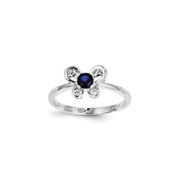 Girls Birthstone Butterfly Ring - Created Blue Sapphire Birthstone - Sterling Silver Rhodium - Size 6