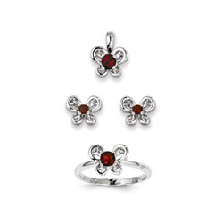 Girls Birthstone Butterfly Jewelry - Genuine Garnet Birthstones - Size 5 Ring, Earrings, and Necklace Set - Sterling Silver Rhodium - 16