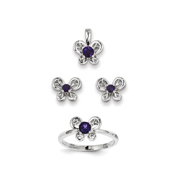 "Girls Birthstone Butterfly Jewelry - Genuine Amethyst Birthstones - Size 5 Ring, Earrings, and Necklace Set - Sterling Silver Rhodium - 16"" adj. chain included - 3 Item Set - Save $15 with this set"