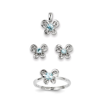 "Girls Birthstone Butterfly Jewelry - Genuine Aquamarine Birthstones - Size 5 Ring, Earrings, and Necklace Set - Sterling Silver Rhodium - 16"" adj. chain included - 3 Item Set - Save $15 with this set"