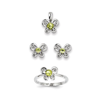 "Girls Birthstone Butterfly Jewelry - Genuine Peridot Birthstones - Size 5 Ring, Earrings, and Necklace Set - Sterling Silver Rhodium - 16"" adj. chain included - 3 Item Set - Save $15 with this set"