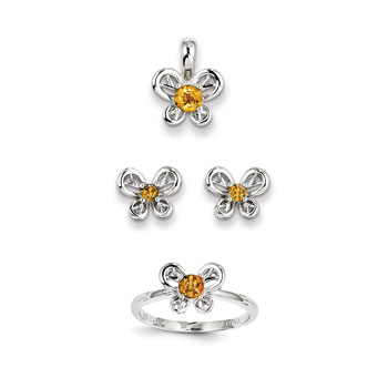 "Girls Birthstone Butterfly Jewelry - Genuine Citrine Birthstones - Size 5 Ring, Earrings, and Necklace Set - Sterling Silver Rhodium - 16"" adj. chain included - 3 Item Set - Save $15 with this set"