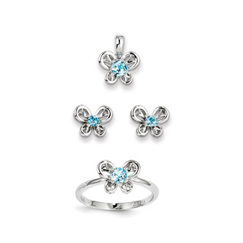 "Girls Birthstone Butterfly Jewelry - Genuine Blue Topaz Birthstones - Size 5 Ring, Earrings, and Necklace Set - Sterling Silver Rhodium - 16"" adj. chain included - 3 Item Set - Save $15 with this set"