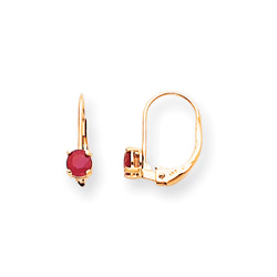 July Birthstone - Genuine Ruby 4mm Gemstone - 14K Yellow Gold Leverback Earrings/