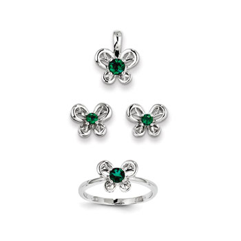 "Girls Birthstone Butterfly Jewelry - Created Emerald Birthstones - Size 6 Ring, Earrings, and Necklace Set - Sterling Silver Rhodium - 16"" adj. chain included - 3 Item Set - Save $15 with this set"