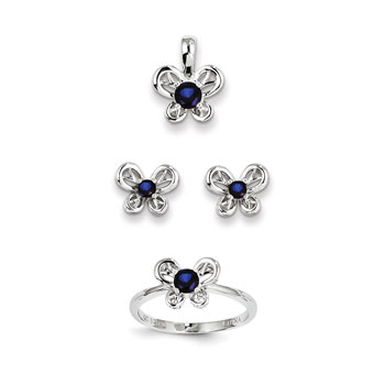 "Girls Birthstone Butterfly Jewelry - Created Sapphire Birthstones - Size 6 Ring, Earrings, and Necklace Set - Sterling Silver Rhodium - 16"" adj. chain included - 3 Item Set - Save $15 with this set"