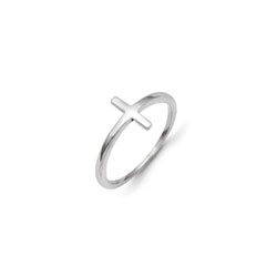 My First Communion - Girls Sideways Cross Ring - 14K White Gold - Size 6/