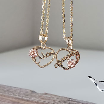 Mom, Daughter Breakable Hearts Pendant - 14K Two-Tone Yellow and Rose Gold - Chain Not Included - BEST SELLER
