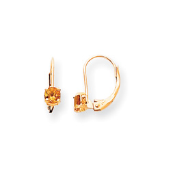 November Birthstone - Genuine Citrine 4mm Gemstone - 14K Yellow Gold Leverback Earrings/