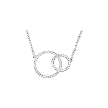 "Exquisite Mother Daughter Diamond Necklace - 14K White Gold - 18.75"" Length"