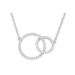 Exquisite Mother Daughter Diamond Necklace - 14K White Gold - 18.75
