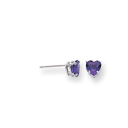 February Birthstone Girls Heart Earrings - Genuine Amethyst - 14K White Gold - Push-Back Posts/