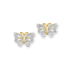 Gorgeous Two-Tone Butterfly Earrings for Tween and Teen Girls - 14K Yellow and Rhodium - Push-Back Posts - BEST SELLER/