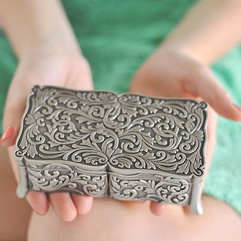 Audrey - Floral Pewter Jewelry Box - BEST SELLER