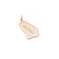 Rembrandt 10K Yellow Gold Georgia State Charm – Engravable on back - Add to a bracelet or necklace/