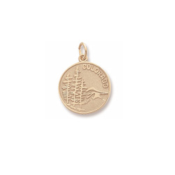 Rembrandt 10K Yellow Gold Colorado State Charm – Engravable on back - Add to a bracelet or necklace/