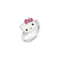 Girls Hello Kitty® Sterling Silver Enameled Ring - Size 6/