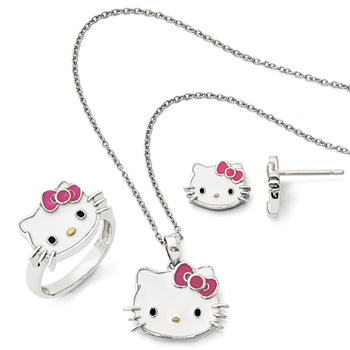 Girls Hello Kitty® Sterling Silver Enameled Pendant Necklace, Earring, and Ring Set - 3 Item Set - Save $15 with this set