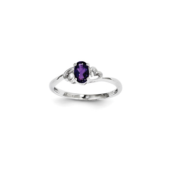 Girls Birthstone Heart Ring - Genuine Amethyst Birthstone - Sterling Silver Rhodium - Size 5