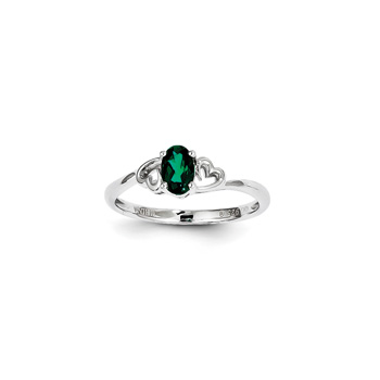 Girls Birthstone Heart Ring - Created Emerald Birthstone - Sterling Silver Rhodium - Size 5