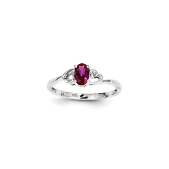 Girls Birthstone Heart Ring - Created Ruby Birthstone - Sterling Silver Rhodium - Size 5