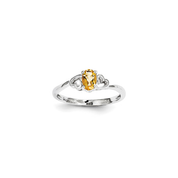 Girls Birthstone Heart Ring - Genuine Citrine Birthstone - Sterling Silver Rhodium - Size 5