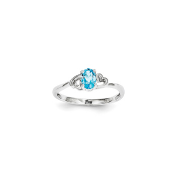Girls Birthstone Heart Ring - Genuine Light Swiss Blue Topaz Birthstone - Sterling Silver Rhodium - Size 5