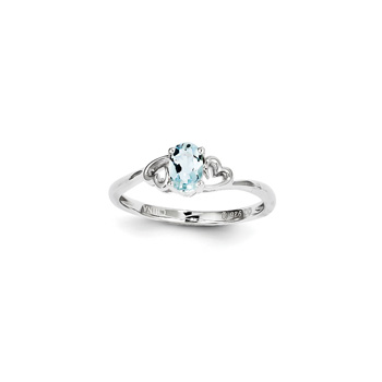 Girls Birthstone Heart Ring - Genuine Aquamarine Birthstone - Sterling Silver Rhodium - Size 6