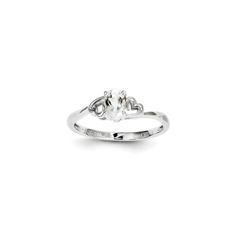 Girls Birthstone Heart Ring - Genuine White Topaz Birthstone - Sterling Silver Rhodium - Size 6