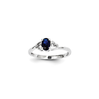Girls Birthstone Heart Ring - Created Blue Sapphire Birthstone - Sterling Silver Rhodium - Size 6