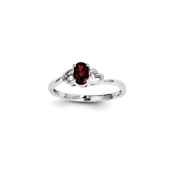 Girls Birthstone Heart Ring - Genuine Garnet Birthstone - Sterling Silver Rhodium - Size 7