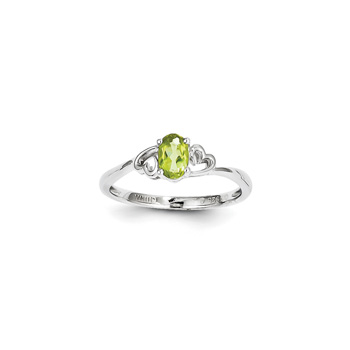 Girls Birthstone Heart Ring - Genuine Peridot Birthstone - Sterling Silver Rhodium - Size 7