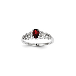 Girls Birthstone & Diamond Heart Ring - Genuine Diamond & Garnet Birthstone - Sterling Silver Rhodium - Size 5/