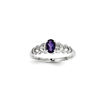 Girls Birthstone & Diamond Heart Ring - Genuine Diamond & Amethyst Birthstone - Sterling Silver Rhodium - Size 6